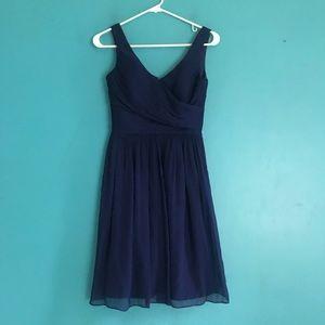J crew Heidi dress in silk chiffon navy blue